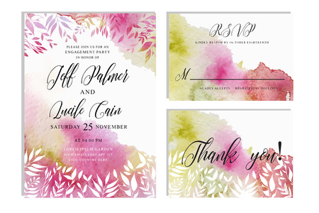 Pink wedding set with beautiful hand drawn floral watercolor background. Includes Invintation, rsvp and thank you cards templates.