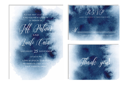 Indigo, navy blue wedding set with beautiful hand drawn watercolor background. Includes Invitation, rsvp and thank you cards templates. Vector.