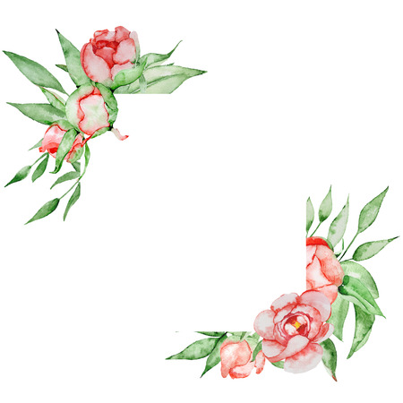 Romantic frame with flowers Card template. Watercolor peonies with green leaves on the white background.