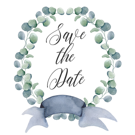 watercolor flowers wreaths with ribbon for your text. Floral banner. Wedding invitation. Save the date card Banque d'images