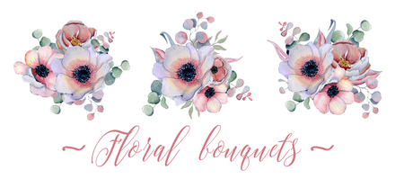 watercolor bouquets set with anemone, peonies flowers and herbs Hand drawn illustration
