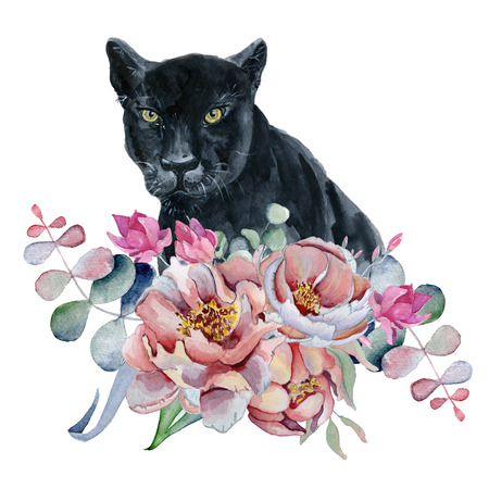 Watercolor composition with black wiled panther and flowers peonies , anemone Hand drawn illustration