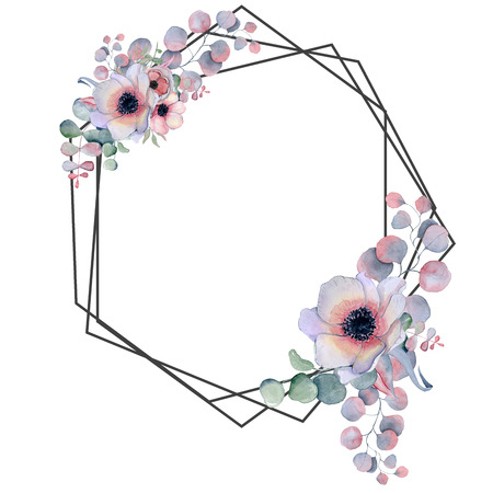 Geometric botanical design frame. Wild  flowers, peonies, anemone, leaves and herbs. Natural spring wedding card. Black line art.