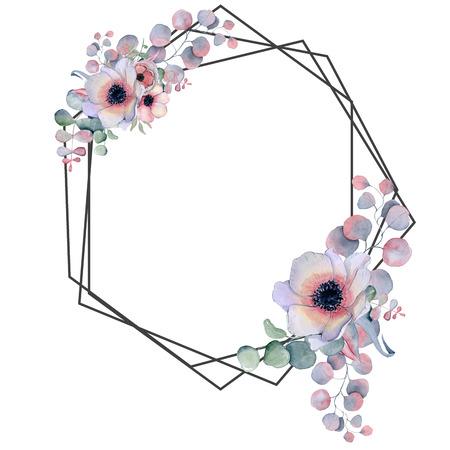 Geometrischer botanischer Entwurfsrahmen. Wilde Blumen, Pfingstrosen, Anemonen, Blätter und Kräuter. Natürliche Frühlingshochzeitskarte. Schwarze Strichgrafiken. Standard-Bild