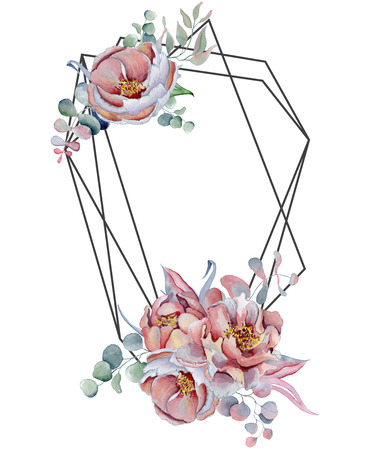 Geometric botanical design frame. Wild  flowers, peonies, anemone, leaves and herbs. Natural spring wedding card. Black line art.
