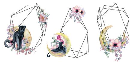 Geometric botanical design frame. Wild panther, moons, flowers, leaves and herbs. Natural spring wedding card. Black line art.