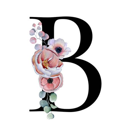 Floral watercolor alphabet. Monogram initial letter B design with hand drawn peony and anemone flower  and black panther for wedding invitation, cards, logos Stockfoto