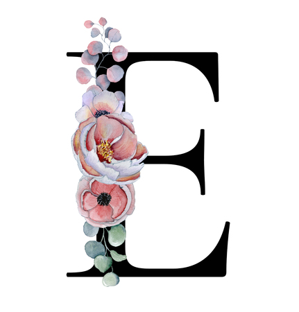 Floral watercolor alphabet. Monogram initial letter E design with hand drawn peony and anemone flower  and black panther for wedding invitation, cards, logos Stockfoto