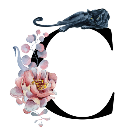 Floral watercolor alphabet. Monogram initial letter C design with hand drawn peony and anemone flower  and black panther for wedding invitation, cards, logos 免版税图像
