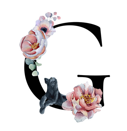 Floral watercolor alphabet. Monogram initial letter G design with hand drawn peony and anemone flower  and black panther for wedding invitation, cards, logos