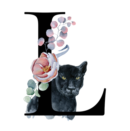 Floral watercolor alphabet. Monogram initial letter L design with hand drawn peony and anemone flower  and black panther for wedding invitation, cards, logos Фото со стока