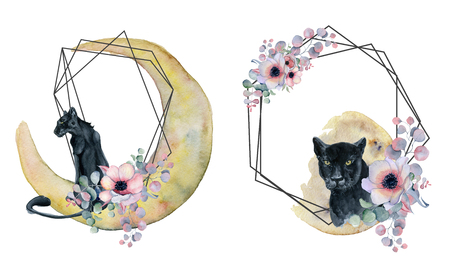 Geometric botanical design frame. Wild panther, moons, flowers, leaves and herbs. Natural spring wedding card. Black line art.