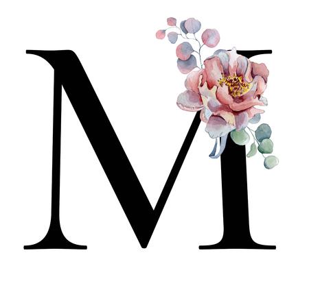 Floral aquarel alfabet. Monogram eerste letter M ontwerp met hand getrokken pioenroos en anemoon bloem en zwarte panter voor bruiloft uitnodiging, kaarten, logo 's Stockfoto