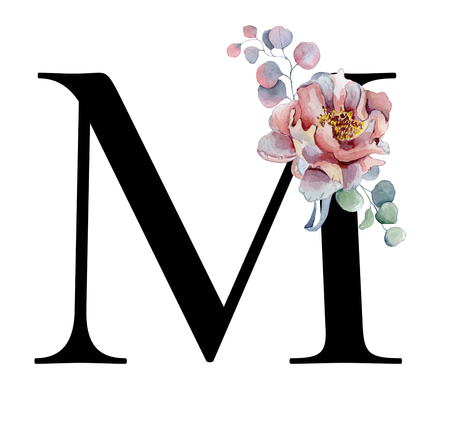Floral watercolor alphabet. Monogram initial letter M design with hand drawn peony and anemone flower  and black panther for wedding invitation, cards, logos