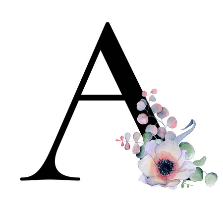 Floral watercolor alphabet. Monogram initial letter A design with hand drawn peony and anemone flower  and black panther for wedding invitation, cards, logos