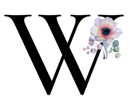 Floral watercolor alphabet. Monogram initial letter W design with hand drawn peony and anemone flower  and black panther for wedding invitation, cards, logos Stok Fotoğraf