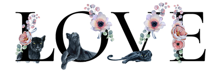 Love lettering sign watercolor word design with floralbouquets and black panthers. Hand drawn typography inscription. Romantic label, greeting card, template, poster, banner
