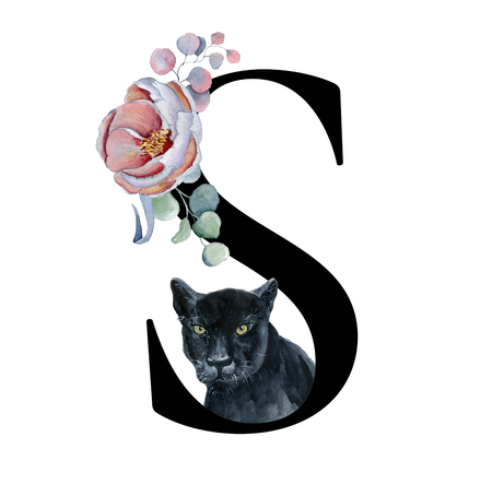 Floral watercolor alphabet. Monogram initial letter S design with hand drawn peony and anemone flower  and black panther for wedding invitation, cards, logos