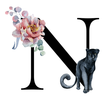Floral watercolor alphabet. Monogram initial letter N design with hand drawn peony and anemone flower  and black panther for wedding invitation, cards, logos