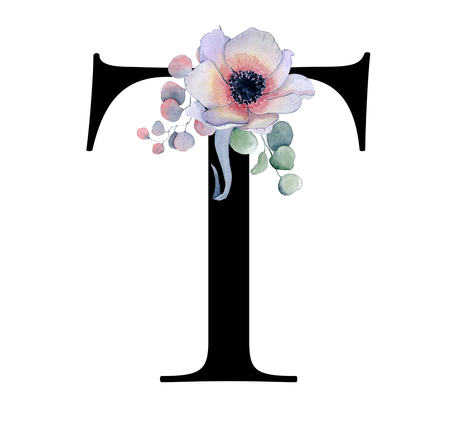 Floral watercolor alphabet. Monogram initial letter T design with hand drawn peony and anemone flower  and black panther for wedding invitation, cards, logos
