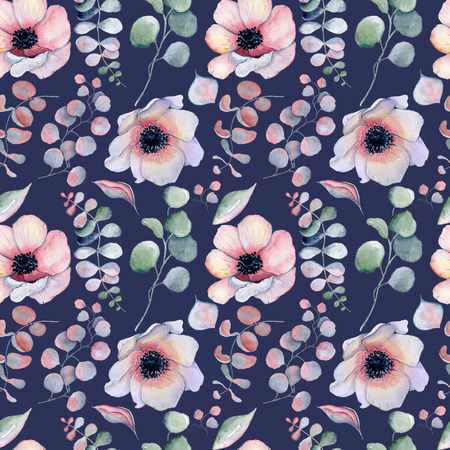 Watercolor floral navy blue seamless pattern Hand drawn illustration background
