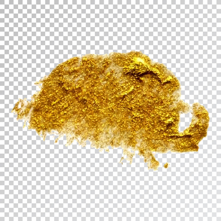 Gold paint smear stroke stain,  brush stroke on white background. Abstract gold glittering texture. High quality manually traced vector illustration