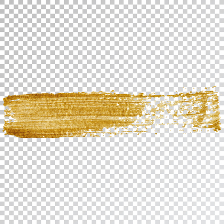 Gold paint smear stroke stain, brush stroke on white background. Abstract gold glittering texture. High quality manually traced vector illustration Ilustração Vetorial
