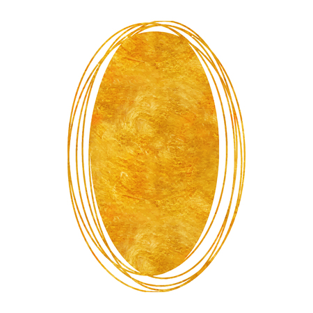 Doodle circle gold drawing sphere  with golden abstract texture Illustration