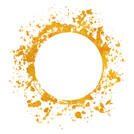 Splatter gold round frame backgrounds paints set with golden splash on white. Grunge blots and drops. High quality manually traced vector illustration