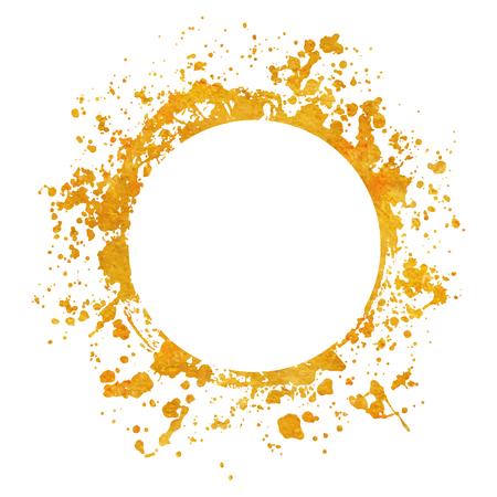 Splatter Gold runde Rahmen Hintergründe Farben mit goldenen Spritzer auf Weiß gesetzt. Grunge Blots und Tropfen. Hochwertige manuell verfolgte Vektorillustration Vektorgrafik