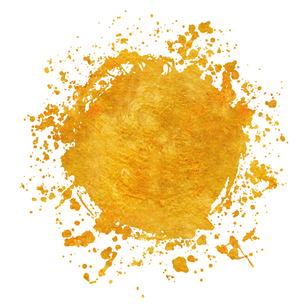Splatter Gold runde Rahmen Hintergründe Farben mit goldenen Spritzer auf Weiß gesetzt. Grunge Blots und Tropfen. Hochwertige manuell verfolgte Vektorillustration