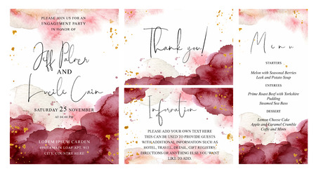 Burgundy, pink and gold wedding set with  hand drawn watercolor background. Includes Invintation, menu, information and thank you cards templates. Vector set Çizim