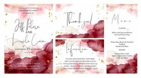 Set da sposa bordeaux, rosa e oro con sfondo acquerello disegnato a mano. Include modelli di invito, menu, informazioni e biglietti di ringraziamento. Insieme di vettore