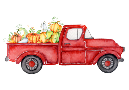 Red harvest truck with pumpkins Thanksgiving hand drawn watercolor illustration Stock Photo