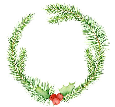 Merry Christmas aquarel kransen met florale winterelementen. Gelukkig nieuwjaarskaart, affiches. Bloemen, sparren takken en maretak takken op een witte achtergrond geïsoleerde decoratie Stockfoto
