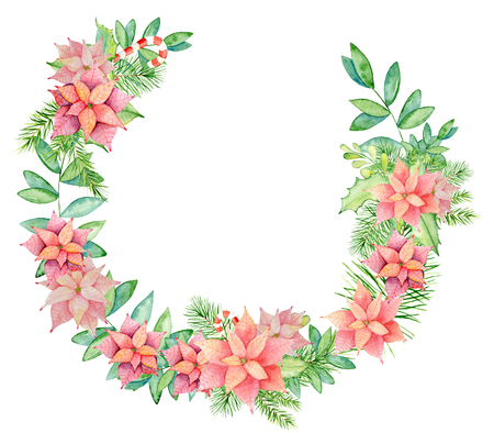 Merry Christmas watercolor wreaths with floral winter elements. Happy New Year card, posters. Flowers, spruce branches and mistletoe branches on a white background isolated decoration