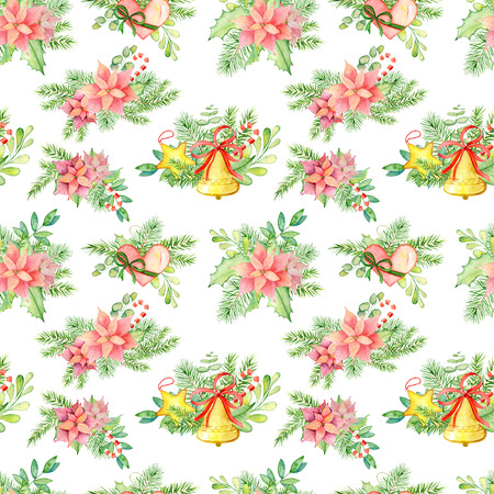 Christmas and New Year hand drawn watercolor seamless pattern