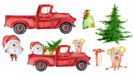 Red Christmas truck creator with pig, santa and gifts New year hand drawn watercolor illustration Foto de archivo