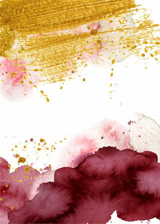 Watercolor abstract background, hand drawn watercolour burgundy and gold texture Vector illustration Standard-Bild - 114550564