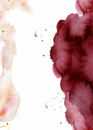 Watercolor abstract background, hand drawn watercolour burgundy and pink texture Vector illustration