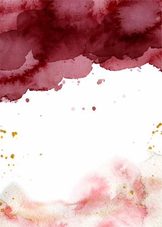 Watercolor abstract background, hand drawn watercolour burgundy and gold texture Vector illustration Vector Illustration