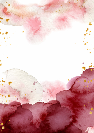 Watercolor abstract background, hand drawn watercolour burgundy and gold texture Vector illustration Çizim