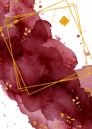 Watercolor abstract background, hand drawn watercolour burgundy and gold texture Vector illustration Illustration