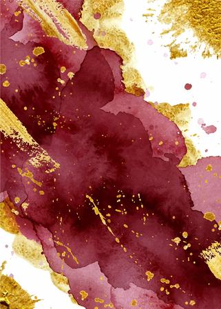 Fondo abstracto acuarela, dibujado a mano acuarela borgoña y textura dorada ilustración vectorial Ilustración de vector
