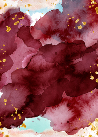 Watercolor abstract background, hand drawn watercolour burgundy and gold texture Vector illustration 写真素材 - 114550658