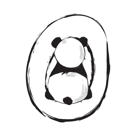 Panda bear cute animal english alphabet letter O with cartoon baby font illustrations Ilustração
