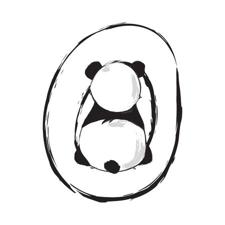 Panda bear cute animal english alphabet letter O with cartoon baby font illustrations Illustration