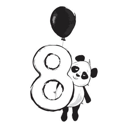 Panda bear cute animal number eight with cartoon baby illustration black and white