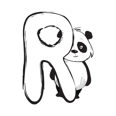 Panda bear cute animal english alphabet letter R with cartoon baby font illustrations Illustration