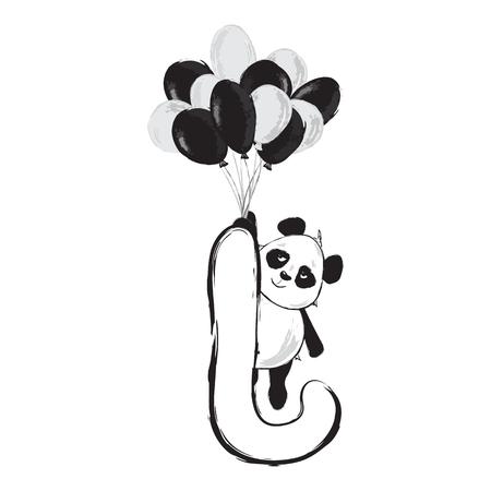 Panda bear cute animal english alphabet letter J with cartoon baby font illustrations Illusztráció